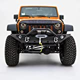 GSI Front Bumper with OE Fog Light Hole and Winch Mount Plate-Black Textured for 07-17 Jeep Wrangler JK [並行輸入品]