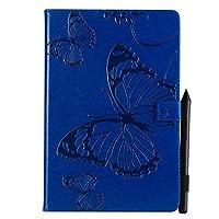 JDDR タブレットケース、 蝶の花の花柄PUレザーウォレットスタンドタブレットケースサムスンギャラクシータブS4 10.5インチ2018モデルSM-T830 / T835 (色 : 青)