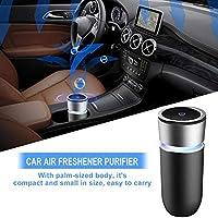 ミニ車載空気清浄機 ライト付き カラフル ライトカップ USB充電 銀黑色 軽量 360度清潔PM2.5tocホルムアルデヒド