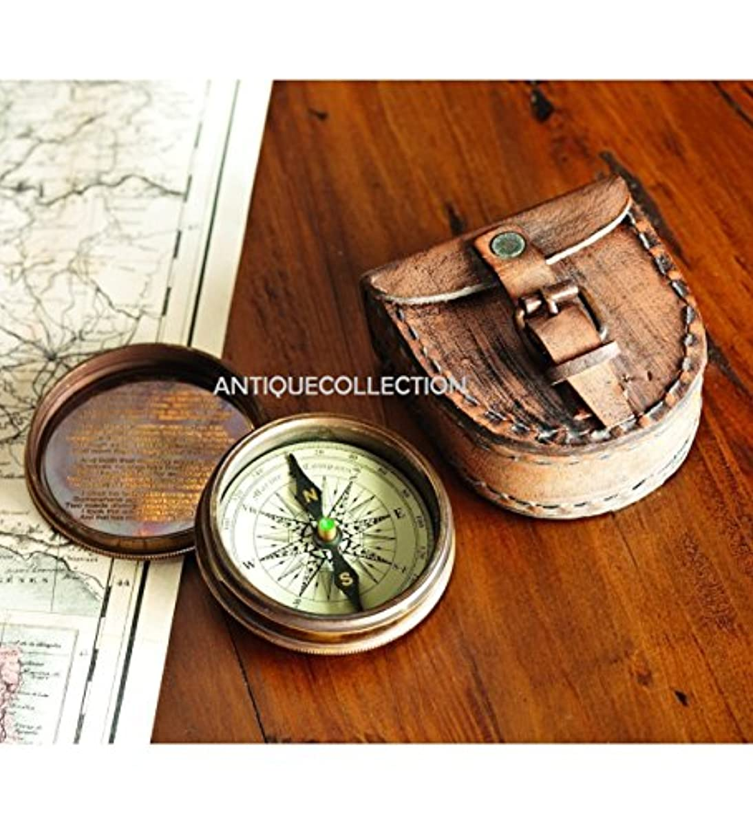 素晴らしさ行商人保守可能antiquecollectionアンティーク真鍮詩コンパス、レザーケース