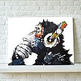 ポスター 動物 チンパンジー 壁飾り キャンバス製 壁キャンバス絵画 壁アート(額縁なし)インテリア オフィス 75*50cm*1