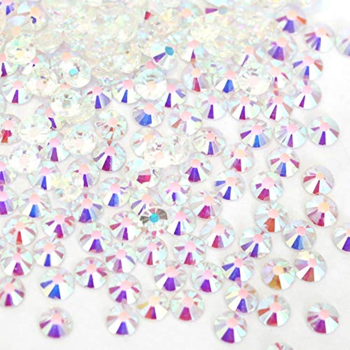 【ラインストーン77】 ガラス製ラインストーン オーロラクリスタルアンホイル(透明底)各サイズ選択可能 スワロフスキー同等 (SS12 約200粒)