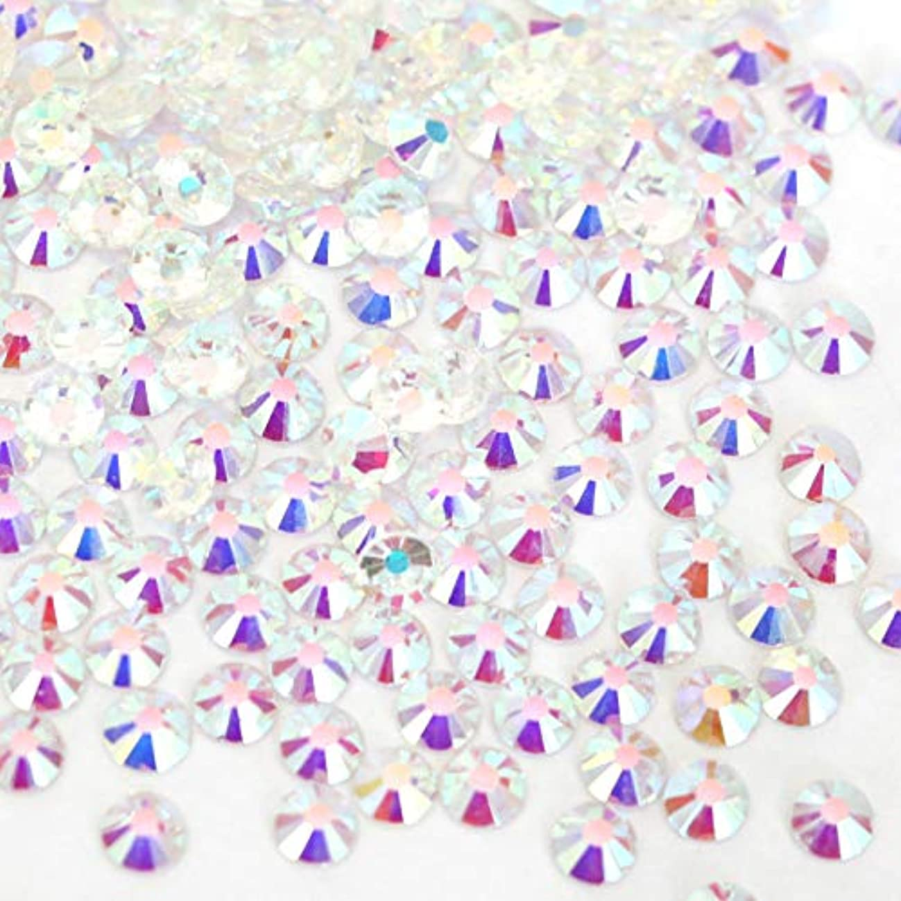 困難おばさん分析【ラインストーン77】 ガラス製ラインストーン オーロラクリスタルアンホイル(透明底)各サイズ選択可能 スワロフスキー同等 (SS12 約200粒)