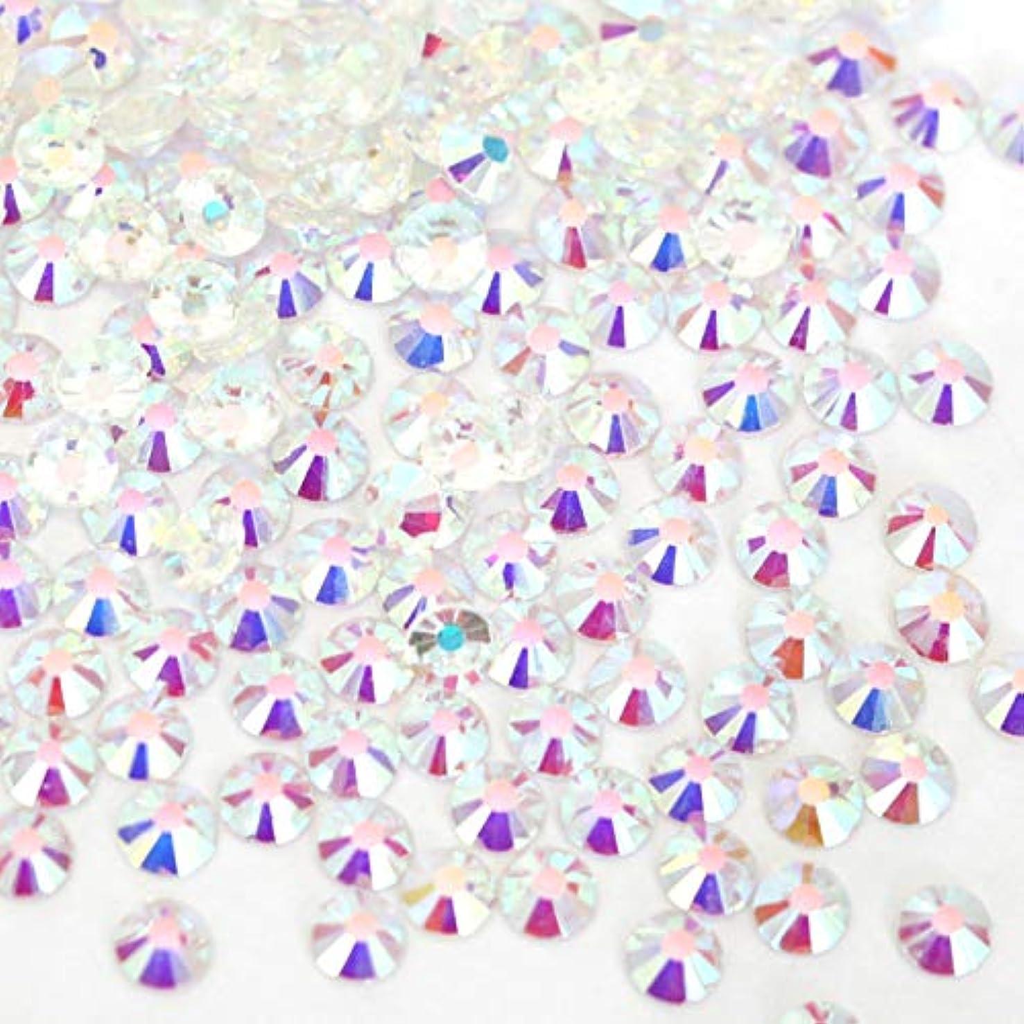 迷路考えるただやる【ラインストーン77】 ガラス製ラインストーン オーロラクリスタルアンホイル(透明底)各サイズ選択可能 スワロフスキー同等 (SS16 約150粒)