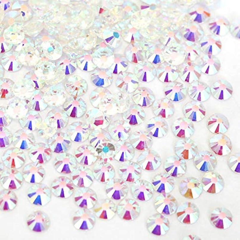 【ラインストーン77】 ガラス製ラインストーン オーロラクリスタルアンホイル(透明底)各サイズ選択可能 スワロフスキー同等 (SS20 約120粒)
