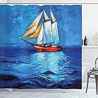 QDYLM スカイライン印象派の航海シャワーカーテンの油絵風ヨットアートイメージ印刷されたマイクロファイバーバスルームシャワーカーテン12プラスチックフックを含む71x71インチ