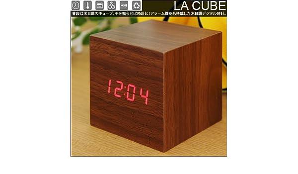 3d87362d6c95 Amazon|tokumo 木目がおしゃれなキューブタイプデジタル時計 デジタル時計 インターフォルム デジタル 目覚まし時計 置き時計 温度計  日付表示 おすすめ 目覚まし ...
