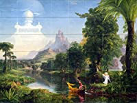 "Landscape Palm Trees Mountain River Boat Fantastic by Thomas Coleタイル壁画キッチンバスルーム壁後ろの油ストーブ範囲シンク止め板8x 64.25インチセラミック、光沢 4.25"" Ceramic, Matte I692__8x6_4.25iCerMat_Tile_Mural"