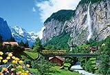 1000ピース シュタウプバッハ滝とユングフラウの登山鉄道 71-387