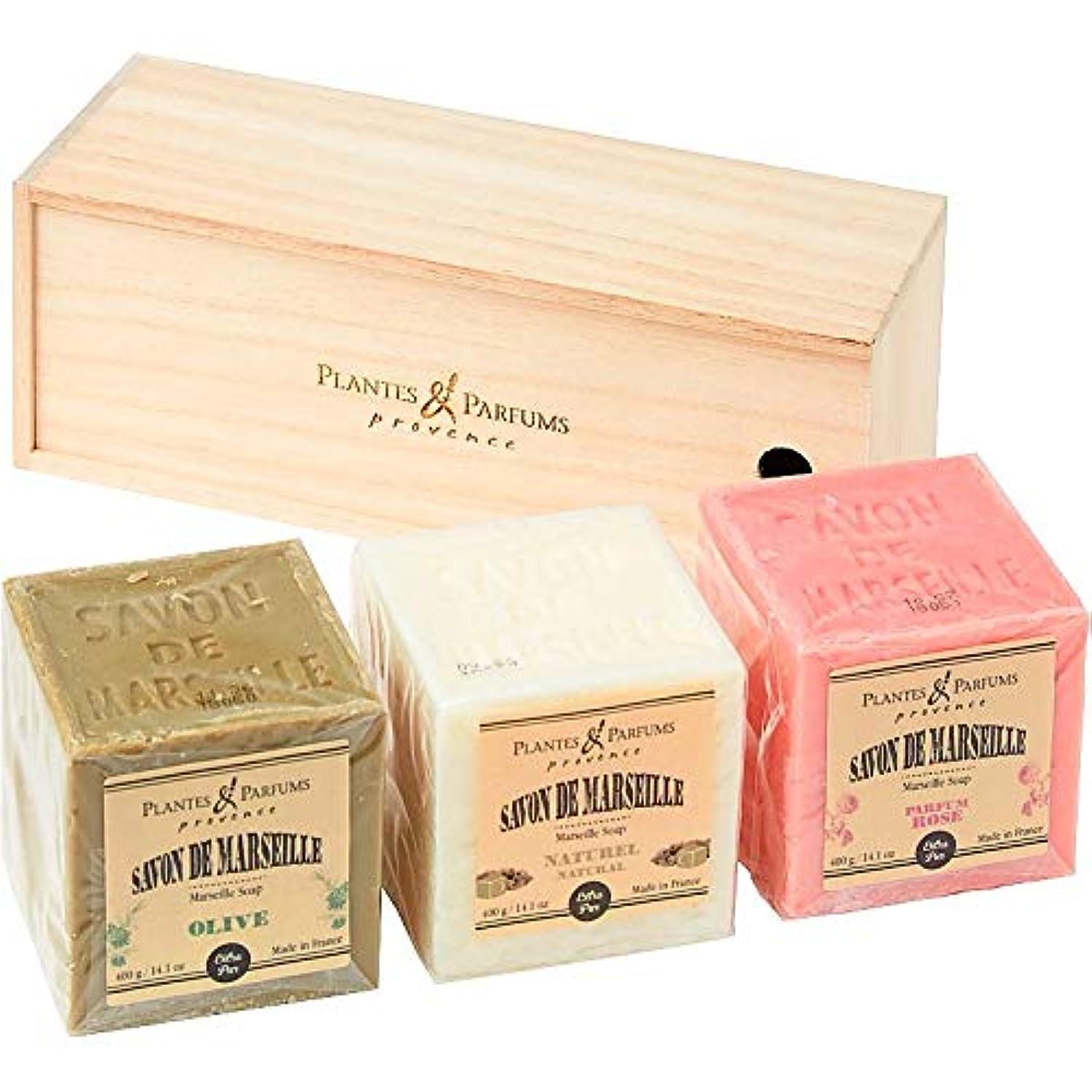 書く矩形ゴミ(プランツ&パルファム/Plantes & Parfums) マルセイユソープ3個セット (桐箱入り) (676-0377r)
