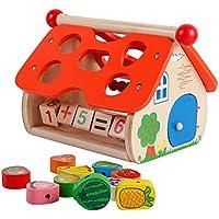 木製Preschoolフルーツ形状ブロックソーター算術学習Lacingビーズゲーム教育玩具子供幼児