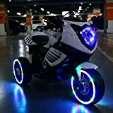 White Kids Sport Electric Ride on Motorcycle with MP3 Player Led Lights in Wheel
