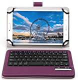 Bluetoothワイヤレスキーボード, キーボードケース,【ELTD】オリジナルHuawei Mediapad M2 7.0/ Huawei Mediapad M2 8.0/ Acer Iconia One 7 B1-780/ HP pro Tablet 608/ ASUS ZenPad 8 2016/ ASUS Zenpad Z8ケース (7-8inchのタブレット適用)マグネット着脱可能 一体型Bluetoothワイヤレスキーボード (7-8 inch, パープル)