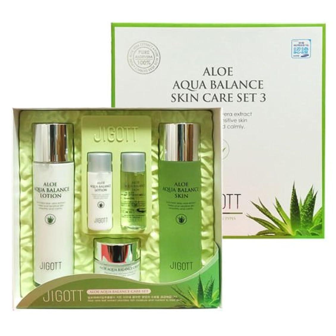 知恵ピルファー減らすジゴトゥ[韓国コスメJigott]Aloe Aqua Balance Skin Care 3 Set アロエアクアバランススキンケア3セット樹液,乳液,クリーム [並行輸入品]