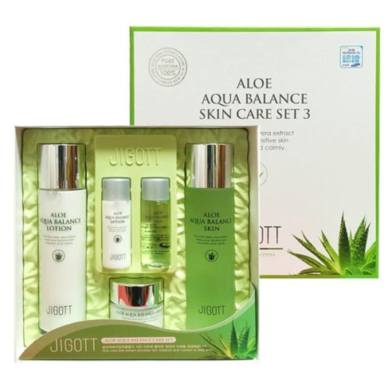 対人不規則性紫のジゴトゥ[韓国コスメJigott]Aloe Aqua Balance Skin Care 3 Set アロエアクアバランススキンケア3セット樹液,乳液,クリーム [並行輸入品]