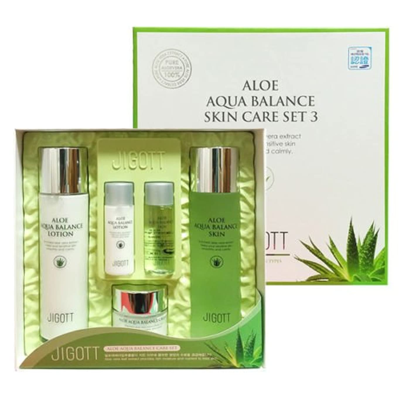 フェローシップ全員悲観主義者ジゴトゥ[韓国コスメJigott]Aloe Aqua Balance Skin Care 3 Set アロエアクアバランススキンケア3セット樹液,乳液,クリーム [並行輸入品]