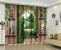 "FidgetGear 3D写真の印刷窓のカーテンの孔雀の景色の遮断は生地の壁画をドレープ 80×84""(203×213CM)"