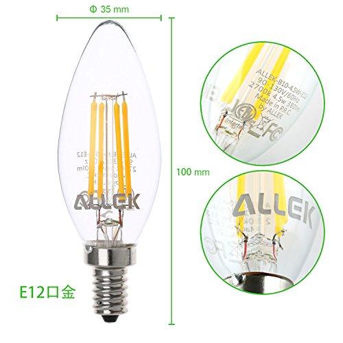 ALLEK LED電球 燭台電球 E12口金 B10 電球色 4.5W 40W形相当 2700K 380ルーメン調光対応 広配光タイプ (6個入)