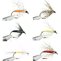 GoFly 渓流、管理釣り場の定番 万能ソフトハックル #14 6種 6本セット 爆釣フライ