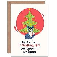 Naught Kitty Christmas Tree Christmas Greetings Card