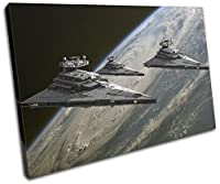 太字ブロックデザイン – Star Wars Star Destroyer movie greats Singleキャンバスアートプリントボックスフレーム壁吊り下げ – Hand Made In The UK – Framed and ready to hang (D) 90x60cm 13-8881(00B)-SG32-LO-D