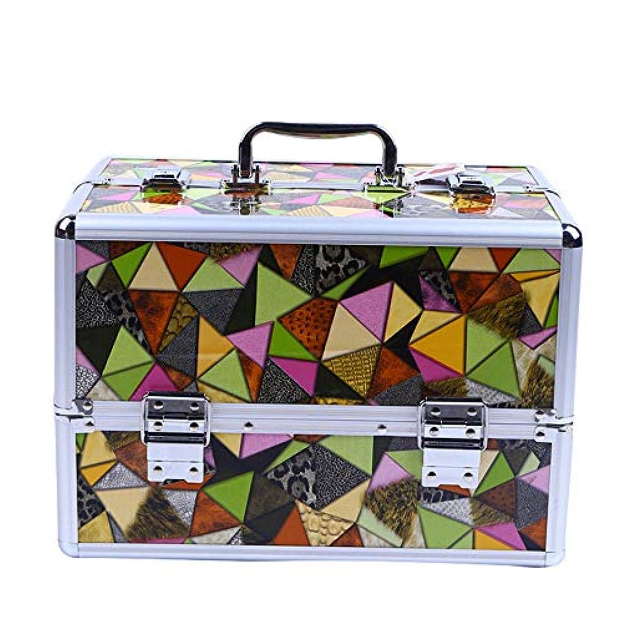 スーツケースサンドイッチ虐殺化粧オーガナイザーバッグ 高容量ポータブルPUレザー化粧品美容メイクアップ化粧ケース幾何学模様と折り畳みトレイ 化粧品ケース