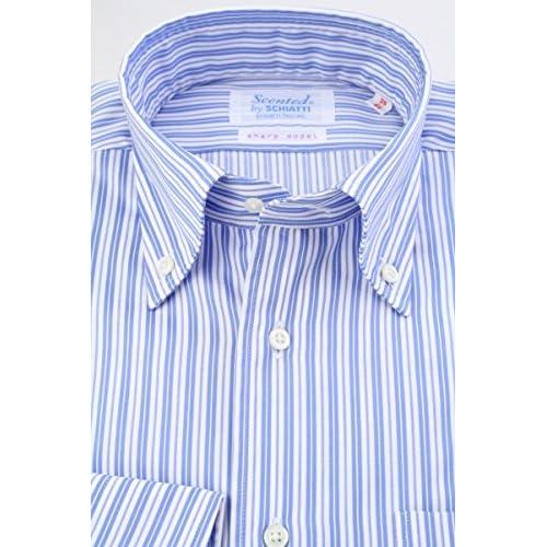 (スキャッティ) Scented 白地 ブルー系 ストライプ 綿100% ボタンダウン (細身) ドレスシャツ bd4157-3983