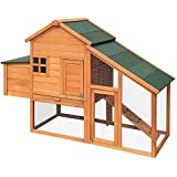 Chicken Coop Rabbit Hutch Guinea Pig Ferret Cage Hen Wooden House 2 Storey 171CM