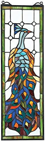 Design Toscano TF27226 Pleasant Peacock Stained Glass Window, Multicolor