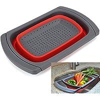 ウォッシュバスケット 伸縮折りたたみ式  洗い物箱  シンク ウォッシュ   野菜果物洗い  ドレンバスケット (赤色)