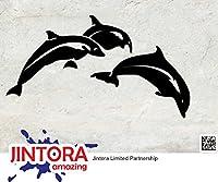 JINTORA ステッカー/カーステッカー - Dolphin Jump - イルカジャンプ - 149x83mm - JDM/Die cut - 車/ウィンドウ/ラップトップ/ウィンドウ- 黒