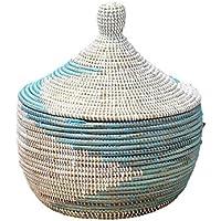 セネガル産水草使用?手編みバスケット/収納?小物入れ/手作りペールブルー?ホワイト