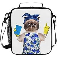 VAWA ランチバッグ お弁当バッグ 猫柄 保冷バッグ 保温 かわいい お弁当袋 大容量 弁当箱 ランチボック 防水 食品収納 通勤 通学 高校生 子供用 面白い 掃除する猫