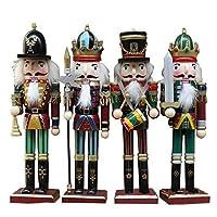 くるみ割り人形 人形 兵隊 木製 おもちゃ クリスマス 誕生日 プレゼント 木製工芸品 4点セット 30cm