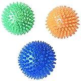 犬用 玩具ボール 音が出る 歯ぎしり 天然ゴム トレーニングボール インタラクティブおもちゃ 頑丈 柔らかい 弾力性 3個セット size S (ブルーオレンジ 色グリーン)