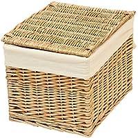 【A4サイズ収納ボックス】ウィロー製フタ付きすっきり収納バスケット