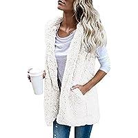 Ausexy Womens Vest Coat Faux Fur Zip Up Sherpa Jacket Winter Warm Hoodie Outwear Casual Plush Daily Pocket Overcoat Women Clothing