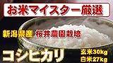 新潟県産 白米 コシヒカリ 30kg (精米後 27kg) (検査一等米)桜井農園栽培 平成28年産