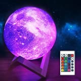 Moon Lamp Galaxy Moon Night Light 3D Printing Dimmable Timer Moonlight 16 Colors with Stand & Remote & Touch Control & USB Rechargeable, Birthday for Baby Kids Friend Party Bedroom (4.7 Inch)