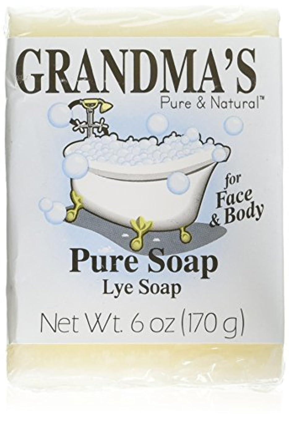 市の花蒸発する隔離するGrandma's Pure & Natural Lye Soap Bars for Dry Skin No Additives 6oz (Set of 4)