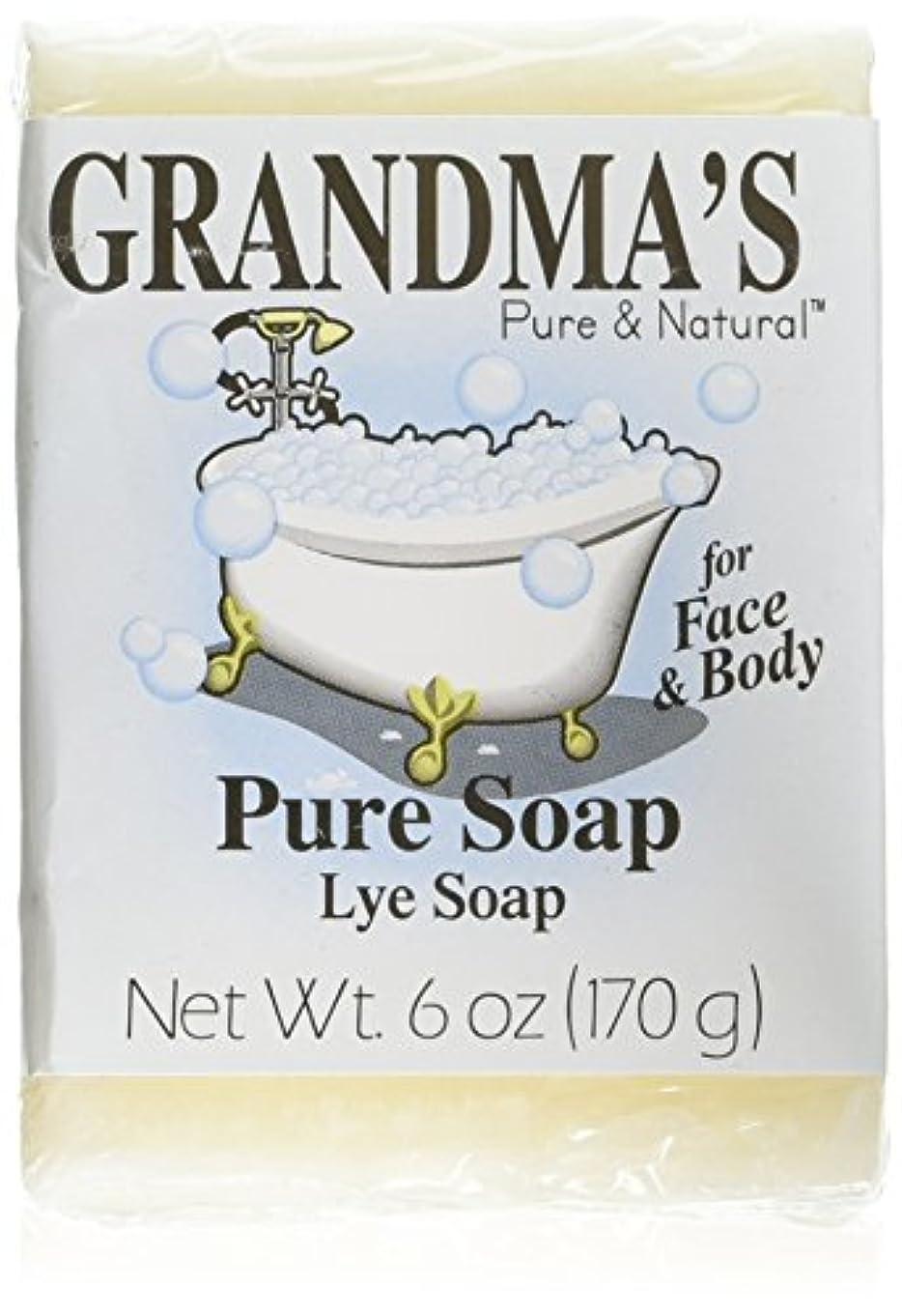 レバーいちゃつく補うGrandma's Pure & Natural Lye Soap Bars for Dry Skin No Additives 6oz (Set of 4)