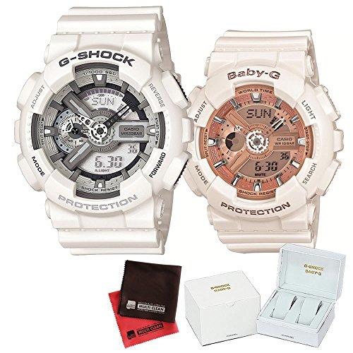 【セット】ペアウォッチ [カシオ]CASIO 腕時計 GA-110C-7AJF メンズ・BA-110-7A1JF レディース ・専用ペア箱(Gショック& ベビーG)・マイクロファイバークロス 2枚セット V-81776