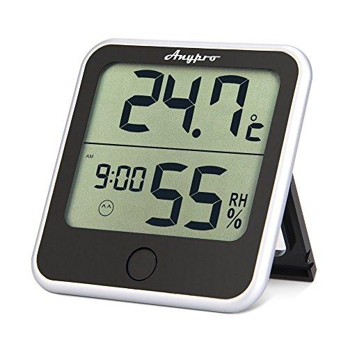 Anypro デジタル温湿度計-温度計 湿度計 室内 時計機能 最高最低温湿度表示 大画面でみやすい温湿度計 置・掛兼用 操作簡単 健康管理 熱中症、インフル、うるおいチェックに