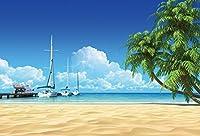Yeele Backdrops 5x 91センチ/ 1.5X 1M海ビーチ海岸の小さな島ポート出荷透明海水Oasis Blue Sky Palm Tree画像大人用芸術的肖像写真の撮影小道具写真撮影背景