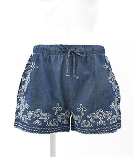 CHILLE オリエンタル刺繍デニムショートパンツ ブルー F