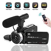 マイク付きビデオカメラビデオカメラフルHD 1080 pナイトビジョンビデオブログカメラ16倍速デジタルビデオカメラ(2019年更新バージョン)
