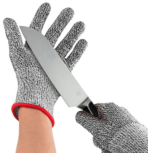 防刃手袋 - Nuovoware 高強度ポリエチレン繊維製 耐切創手袋 耐切創レベル5 2個セット BLACK+GRAY サイズ L