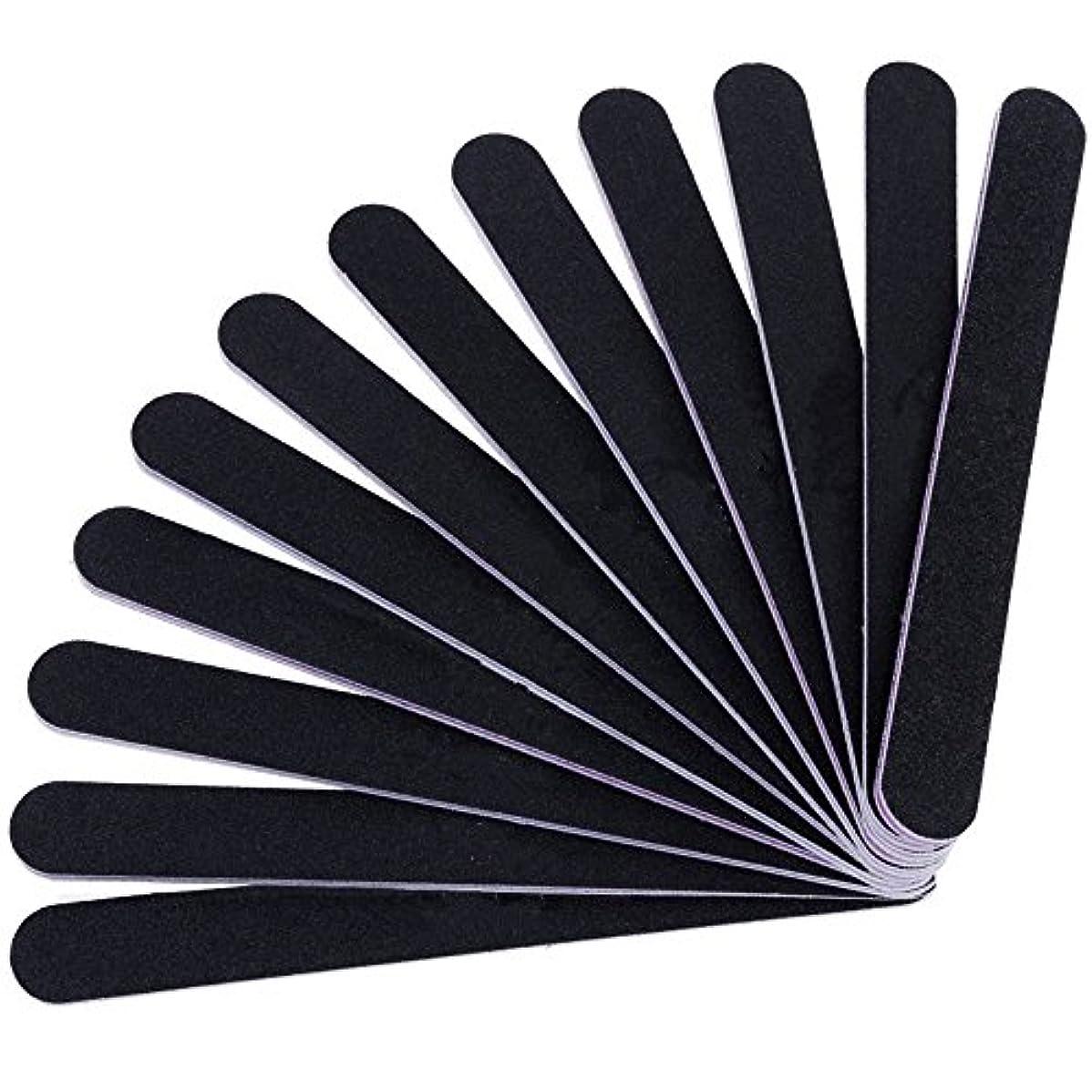 ディンカルビルトン重要性12本セット ネイルファイル ZILONG 爪磨き 爪やすり 両面タイプのエメリーボード 100/180グリット ネイルやすり お手入れ ブラック