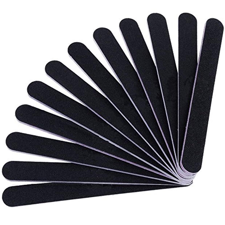 髄傾向がある必要条件12本セット ネイルファイル ZILONG 爪磨き 爪やすり 両面タイプのエメリーボード 100/180グリット ネイルやすり お手入れ ブラック