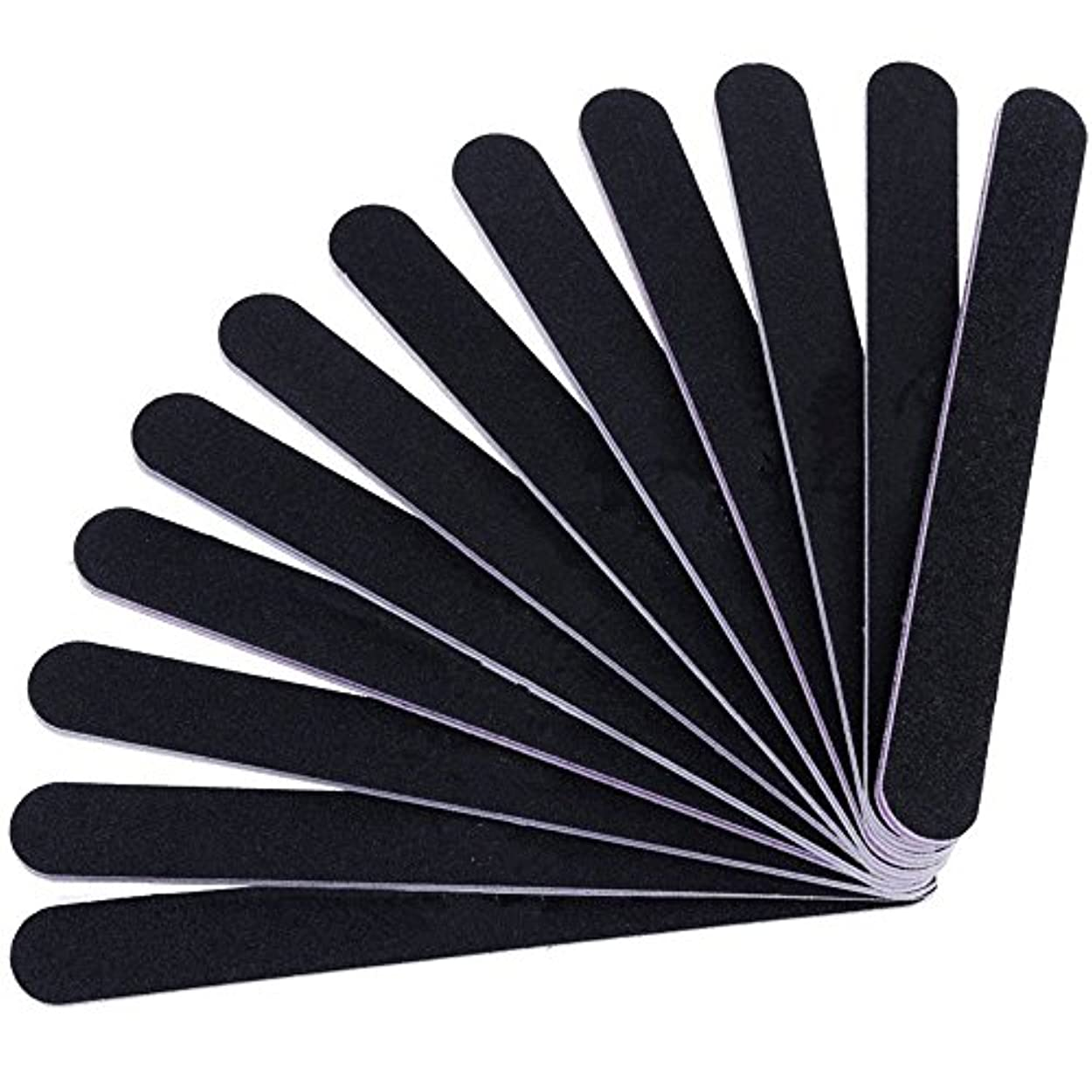 人気の大学ブリード12本セット ネイルファイル ZILONG 爪磨き 爪やすり 両面タイプのエメリーボード 100/180グリット ネイルやすり お手入れ ブラック